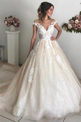Applique Off-the-Shoulder Wedding Dresses | Sequins Backless Sleeveless Floral Bridal Dresses_1