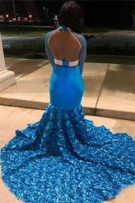 Glamorous Blue Sheer Mesh Lone-Sleeves Flower Applique Sexy Mermaid Prom Dresses_2