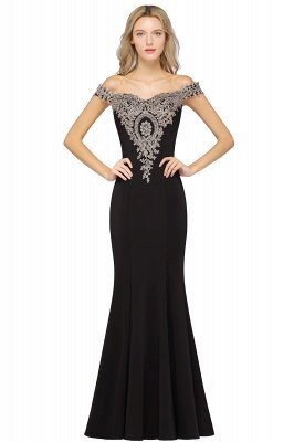 Simple Off the Shoulder Appliques Fitted Floor Length Evening Gown_7