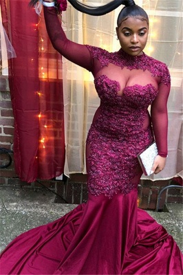 Burgundy High-Neck Long-Sleeves Sheer-Mesh Applique Prom Dress_1