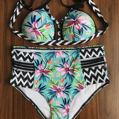 Floral Printed Wireless Padded Straps Sexy Bikinis_8