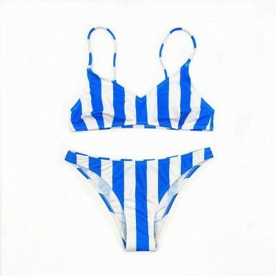 Colorful Stripes Spaghetti Straps Two Piece Sexy Bikini Set_9