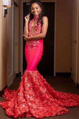 Glamorous Halter Flower Applique Sleeveless Long Prom Dress_2