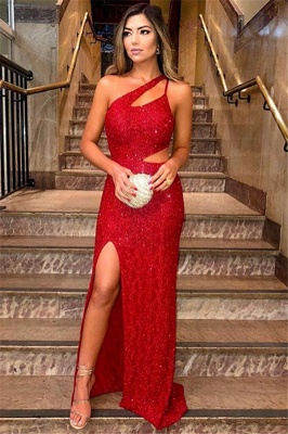 Sexy Red One-Shoulder Sleevesless Side-Slit Sequins Prom Dress_1