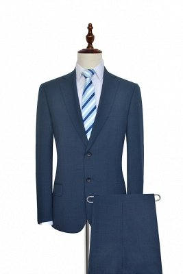 Dark Grey Blue Notched Lapel Custom Suit For Men | Fashion Single Breasted Two Botton Business Men Suit