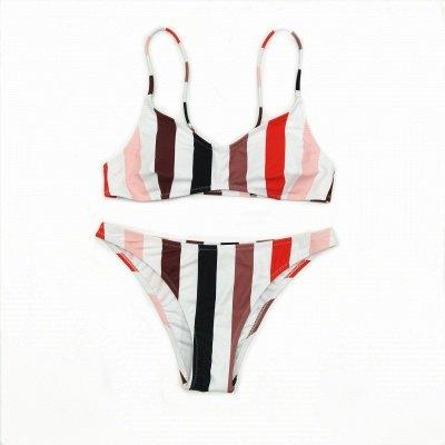 Colorful Stripes Spaghetti Straps Two Piece Sexy Bikini Set_12