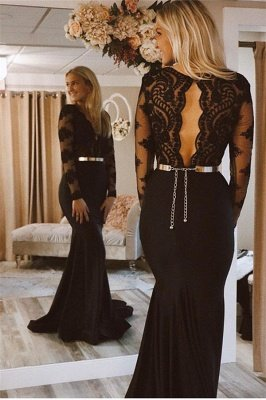 Gorgeous Lace Applique Long Sexy Mermaid Black Prom Dresses with Lone Sleeves_2