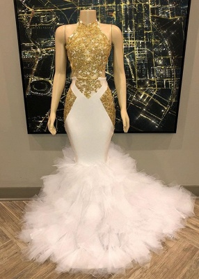 Sleeveless Golden Appliques Mesh Button Sexy Mermaid Prom Dresses_1