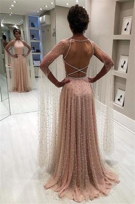 Elegant Pink Sheer- Backless Beading A-Line Prom Dress_1