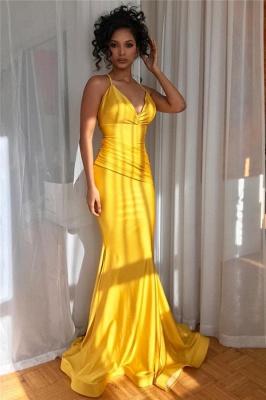 Yellow Spaghetti-Straps V-Neck Ruffle Mermaid Evening Gown_2