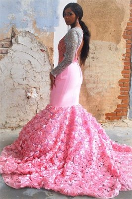 Glamorous Pink Flower Long-Sleeves Sexy Mermaid Backless Evening Gown_2