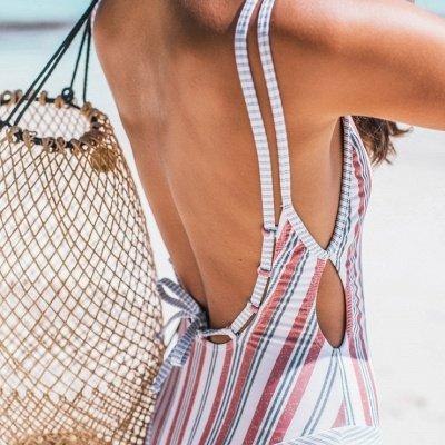 Stripes Backless  One Piece Swimsuit Summer Beach Swimwear_6