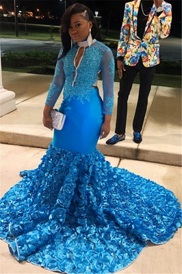 Glamorous Blue Sheer Mesh Lone-Sleeves Flower Applique Sexy Mermaid Prom Dresses_1