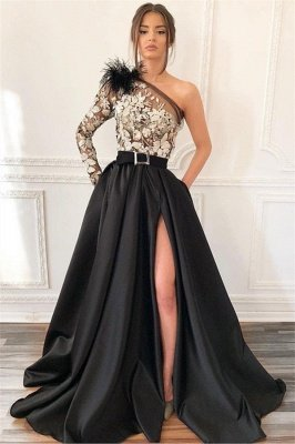 Sexy Blcak One-Shoulder Side-Slit Feather Applique Prom Dress_1