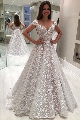Elegant Off-The-Shoulder Appliques A-Line Wedding Dress