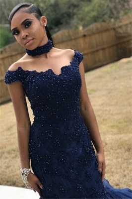 Navy Blue Off-The-Shoulder Beaded Appliques Mesh Sexy Mermaid Prom Dresses_1