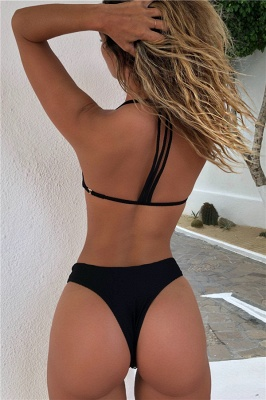Plain Triangle Pads High Waist Halter Sexy Bikini Sets_4
