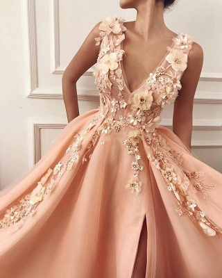 Glamorous Straps V-Neck Flower Appliques Prom Dress with a leg Slit   Chic Long Evening Dresses_2