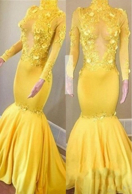 Yellow High Neck Flower Appliques Sexy Mermaid Long Sleeves Prom Dresses_1