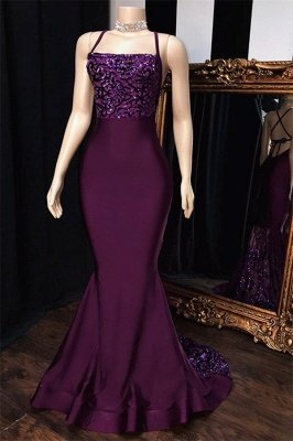 Purple Spaghetti-Straps Appliques Sexy Mermaid Prom Dresses