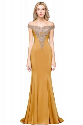 Simple Off the Shoulder Appliques Fitted Floor Length Evening Gown_9