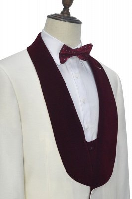 White Red Velvet Shawl Collar One Button Wedding Suit For Groom   Latest Design Single Breasted Slim Fit Suit_7