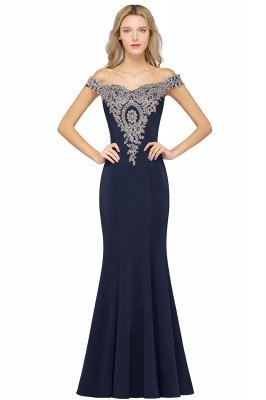 Simple Off the Shoulder Appliques Fitted Floor Length Evening Gown_6