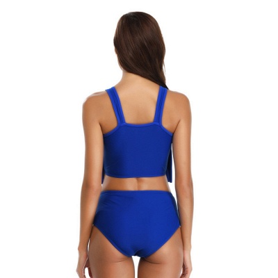 Ruffles Solid Pads Spaghetti Two Piece Swimsuits_11