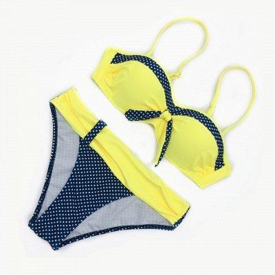 Yellow Sweetheart Spaghetti Two Piece Sexy Bikini Sets_3