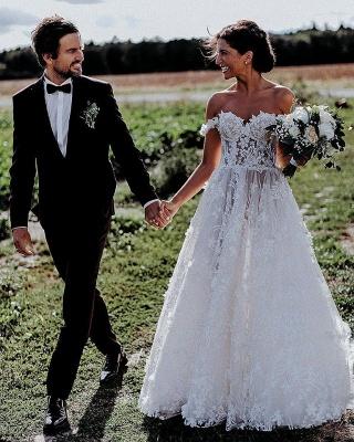 Flowers Off-the-Shoulder Wedding Dresses | Lace Appliques Floral Bridal Dresses_4