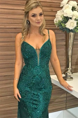 Green Beaded Spaghetti-Straps Appliques Sleeveless Sexy Mermaid Evening Gown_2
