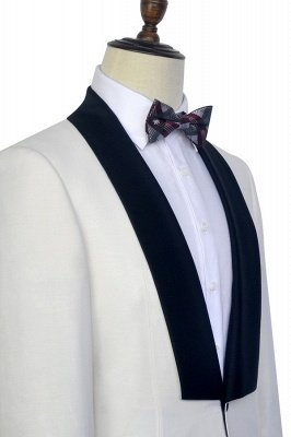 White Shawl Collar Single Breasted Wedding Suit | New Arrival 2 Pocket Custom Suit For Men_6