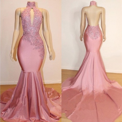 Halter Backless Sexy Mermaid Appliques Long Train Prom Dresses_3