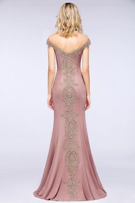 Simple Off the Shoulder Appliques Fitted Floor Length Evening Gown_27