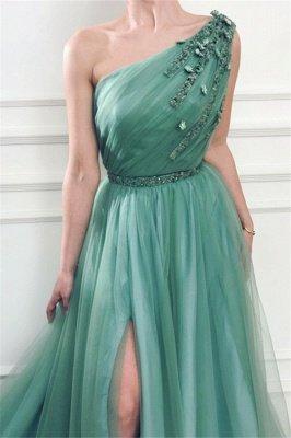 Gorgeous Appliques One-Shoulder Side Slit  A-Line Prom Dresses_3
