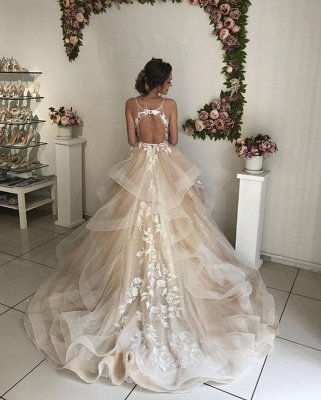 Spaghetti-Strap Sleeveless Backless Floral Appliques Wedding Dresses_3