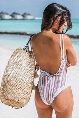 Stripes Backless  One Piece Swimsuit Summer Beach Swimwear_3