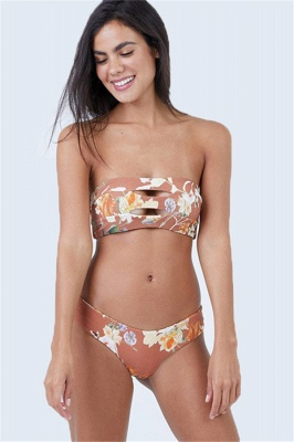 Bandeau Strapless Elegant Flowers Two Piece Sexy Bikini Sets