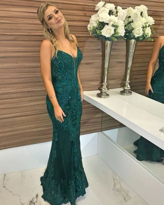 Green Beaded Spaghetti-Straps Appliques Sleeveless Sexy Mermaid Evening Gown_3