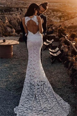 Sexy Mermaid Lace Appliques Halter Backless Wedding Dresses_2