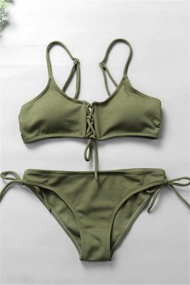 Spaghetti Straps Lace-up Bras Two Piece Sexy Bikini Swimsuits_2