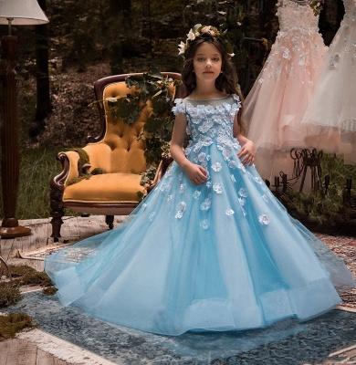 Lovely Wholesale Tulle Square Neckline Tea-length A-line Ice Blue Flower Girl Dress_5