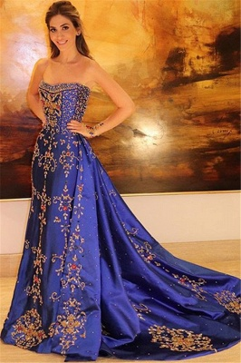 Gorgeous Strapless Applique Sleeveless A-Line Long Prom Dress_1