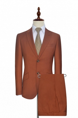 New Arrival Rust Red Two Button Custom Suit For Office | Single Breasted Peaked Lapel Tailoring Suit