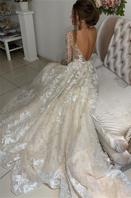 Glamorous Lace Appliques V-Neck Wedding Dresses | Long Sleeves Backless Floral Bridal Gowns_3