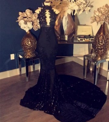 Appliques High-Neck Long Sexy Mermaid Black Prom Dresses_2