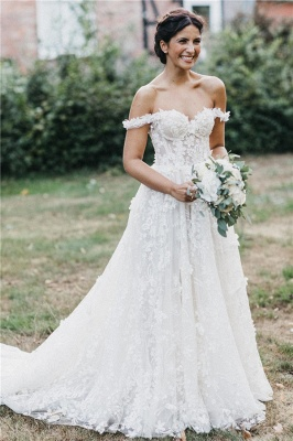 Flowers Off-the-Shoulder Wedding Dresses | Lace Appliques Sleeveless Floral Bridal Gowns