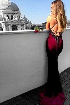 Sexy Lace Up Halter Applique Sleeveless Prom Dresses | Mermaid Cheap Popular Evening Dresses_2