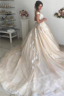Applique Off-the-Shoulder Wedding Dresses | Sequins Backless Sleeveless Floral Bridal Dresses_2