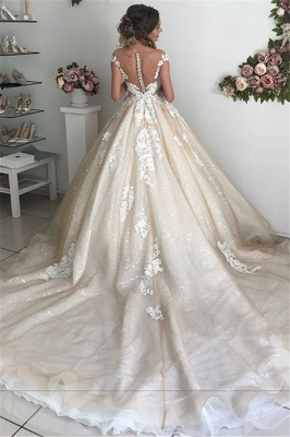 Applique Off-the-Shoulder Wedding Dresses | Sequins Backless Sleeveless Floral Bridal Dresses_3